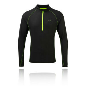Ronhill-Uomo-INFINITY-Merino-1-2-Zip-T-Shirt-Tee-Top-nero-sport-correre-per-meta