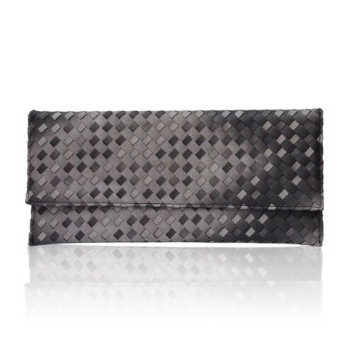 Black Womens Faux Leather Quilted Flap Envelope Evening Clutch Bag Purse