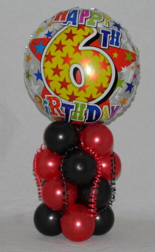 FOIL BALLOON DISPLAY AGE 6 TABLE CENTREPIECE 6TH BIRTHDAY