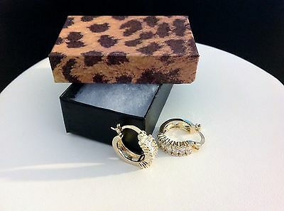 Small CZ Hoop Earrings-18 KT Yellow Gold Filled-Baguettes-Snap Down-Elegant