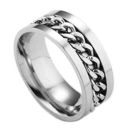 Fashion Titanium Steel rotating chain ring Men/'s jewelry ring Sz7-12