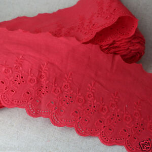 5Yds-Broderie-Anglaise-cotton-eyelet-lace-trim-Red-8-5cm-YH890-laceking2013