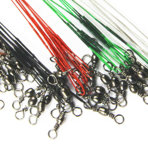 100pcs Trace Wire Leader Stainless Steel Fishing Line Leaders With Snap /& Swivel
