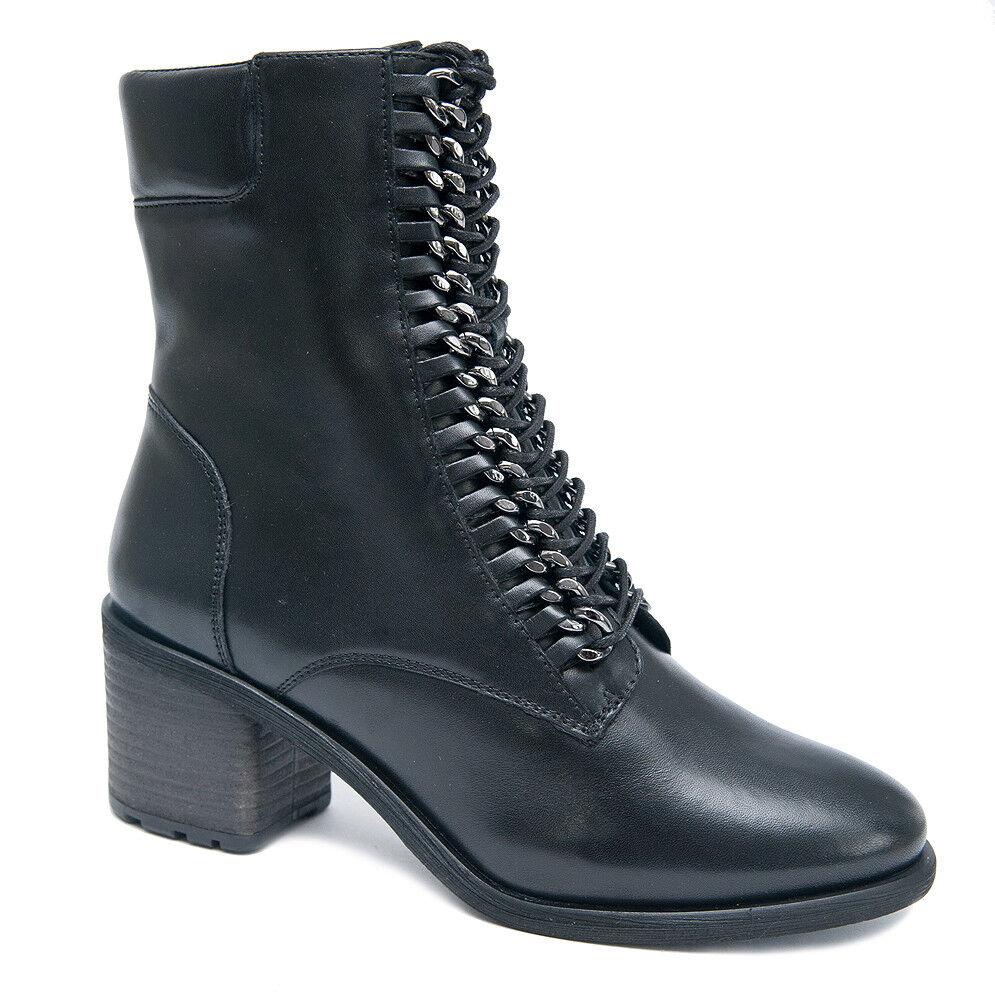 SPM Schnür Stiefel LOESUN Ankle Stiefel schwarz schwarz Leder mit Reißverschluss NEU