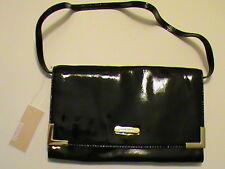 Michael Kors Beverly NWT black patent leather clutch shoulder bag purse gold