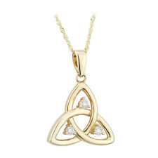 9k 9ct Gold Trinity Knot Celtic Pendant Necklace Made in Ireland Solvar s45707