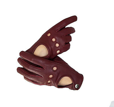 Oxblood red Sheep skin leather driving gloves for Women