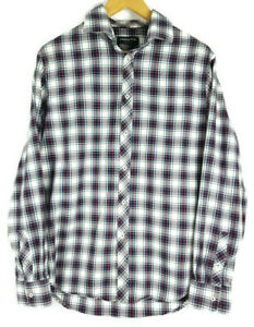 COUNTRY-ROAD-Mens-Plaid-Navy-Red-White-Cotton-Long-Sleeve-Shirt-Size-M-VGC