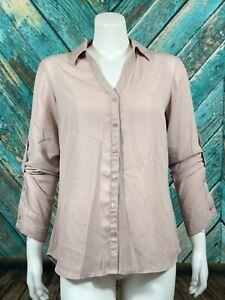 Express-Women-039-s-Portofino-Shirt-Medium-Slim-Fit-Sheer-Long-Roll-Tab-Sleeves