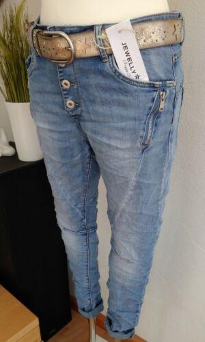 Reißverschluss Jewelly Karostar Chino Boyfriend Italy Style Jeans Hose Blau