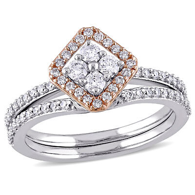 Amour 5/8 CT TW Diamond Bridal Set in 2-Tone 14k White and Rose Gold
