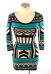28dcc61bdfd Image is loading Flying-Tomato-Turquoise-Sweater-Dress -Geometric-Stretch-Knit-