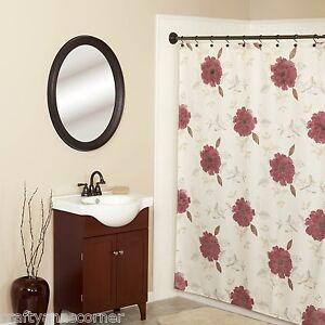 Image Is Loading Martika Anthology Fabric Shower Curtain Floral Burgundy
