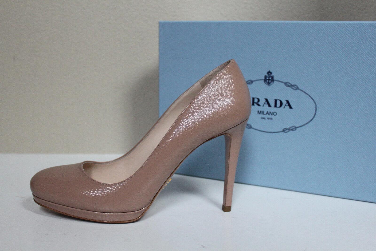 New sz 9.5 US   39.5 Prada Nude Patent Leather Round Toe Classic Pump Heel shoes