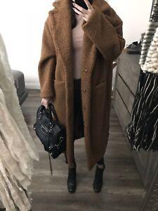 H Amp M Brown Teddy Bear Long Coat Trench Long Beige Jacket