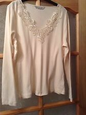 """"""" BHS """" Size 16 Cream Embellished Cotton Top Blouse (44 EU)"""