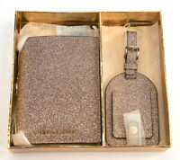 Michael Kors Rose Gold Glittered Leather Bifold Wallet Luggage Tag Boxed Set