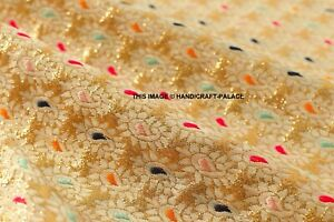 Paisley-Beige-Gold-Bohemian-Silk-Kimono-Brocade-Fabric-Embroidered-By-The-Yard