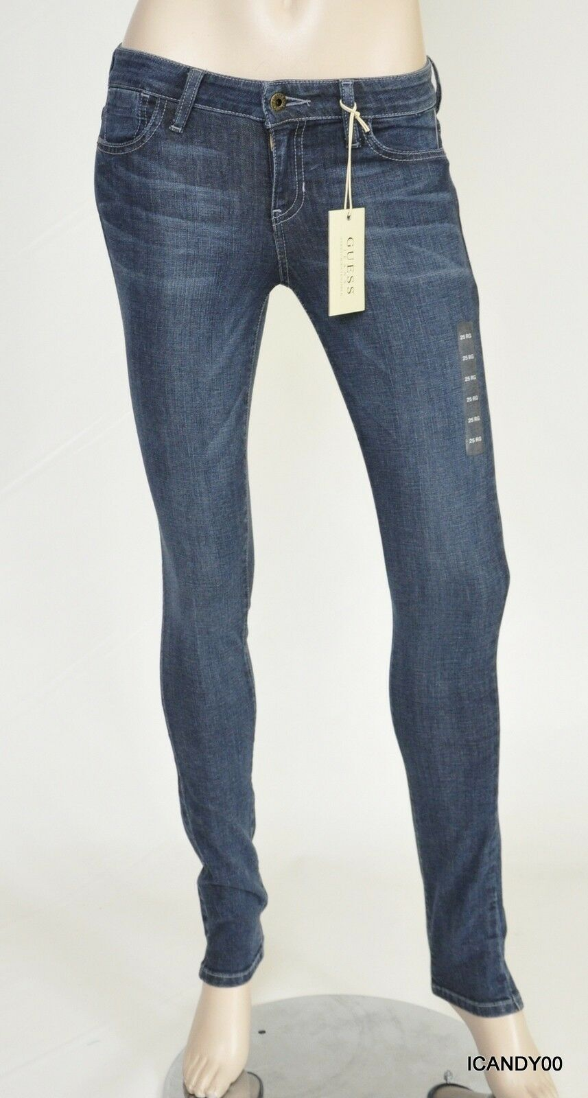Nwt  Guess Mid Rise Skinny Slim Fit Jeans Pants Trousers Admirable Wash 25