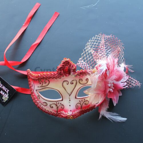 Red Floral Venetian Masquerade Mask Party Prom Mardi Gras Halloween Costume
