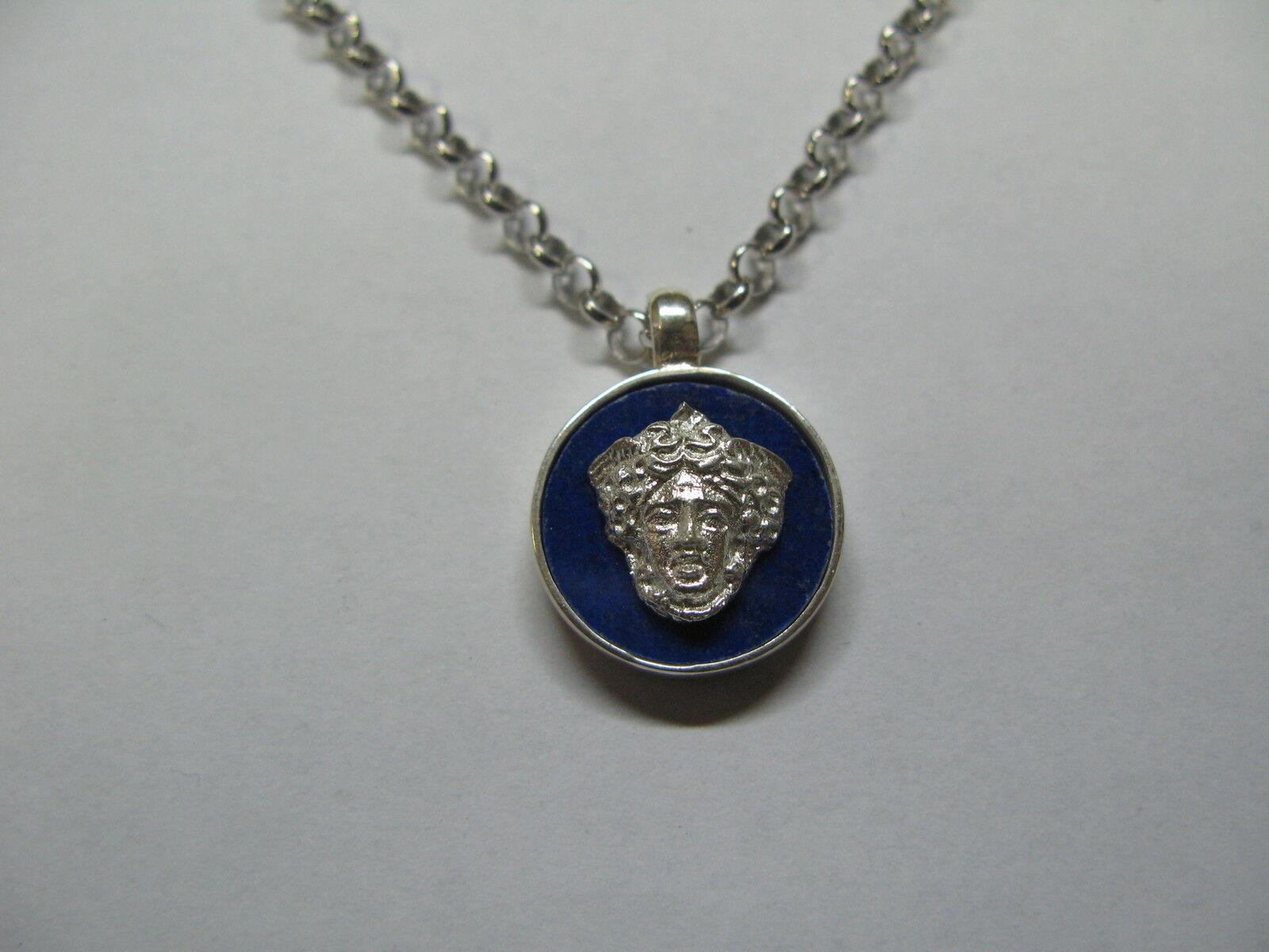 Ciondolo catena silver 925 e lapis con applicazione volto medusa silver 925