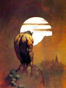 PAINTING-MONSTER-MOON-DISTANT-TOWN-NEW-FINE-ART-PRINT-POSTER-CC3478