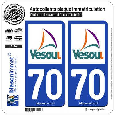 Betrouwbare 2 Stickers Autocollant Plaque Immatriculation Auto : 70 Vesoul - Agglo Modern En Elegant In Mode