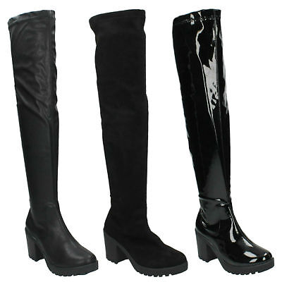 F50487 LADIES CHUNKY ZIP STRETCH CASUAL OVER THE KNEE THIGH HIGH BOOTS SPOT ON