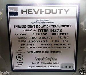 hevi duty 27 kva 3 ph transformer 460 delta 230y 133 volt rh ebay com 480 Volt Transformer Wiring Diagram Transformer Connection Diagrams