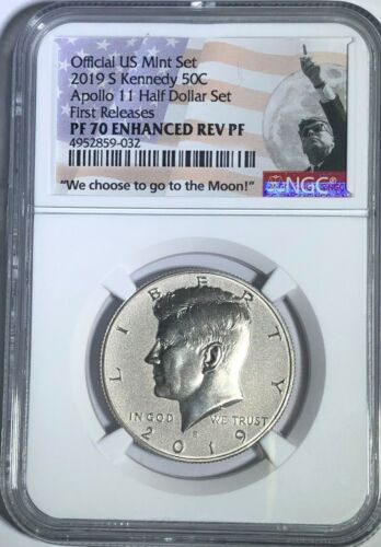 2019 S APOLLO 11 ENHANCED REVERSE PROOF KENNEDY HALF NGC PF70 FR FIRST RELEASES