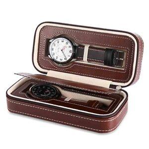 Estuche 2 Relojes Caja Acolchada Cuero PU Boitier 2 Montres Voyage Watch Box 2