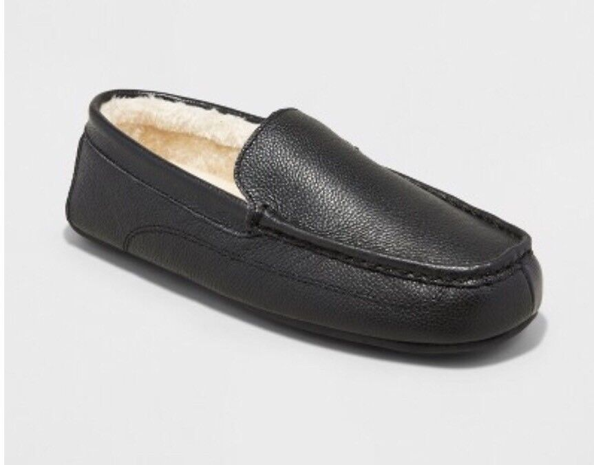 NEW Slipper Size 8 Mens Carlo Genuine Leather Driving Slipper NEW Shoe Black Goodfellow Co a17557