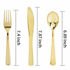 300 Pieces Gold Plastic Silverware