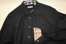BURBERRY BRIT 'Henry' Logo Check Detail Shirt Size XXL    BLACK
