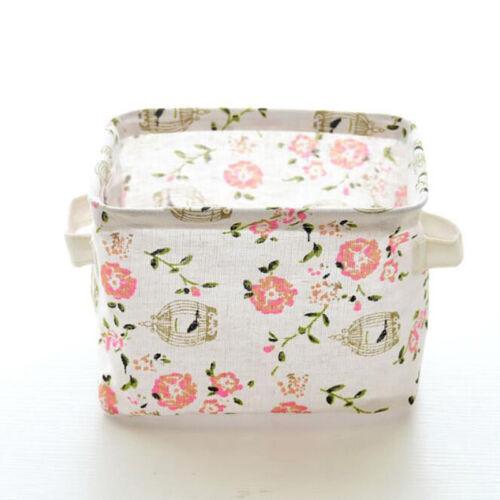 Cotton Floral Storage Basket Bin Handles Kids Toys Nursery Girl Organizer N7