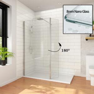 Walk In Shower Enclosure Wet Room Screen Flipper 8mm NANO Glass Panel
