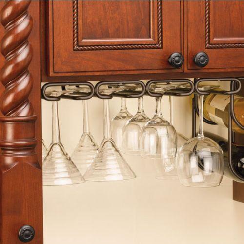 "Rev-A-Shelf 3450-11ORB 11"" Quad Under Cabinet Stemware Rack - Oil Rubbed Bronze"