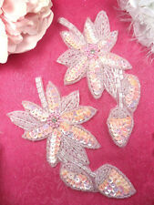 XR51x Light Pink Crystal AB Floral Mirror Pair Appliques Beaded Sequin 6""