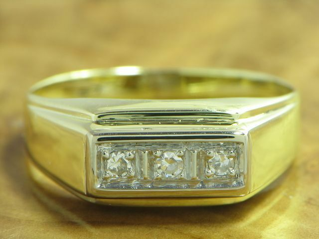 14kt 585 gold yellowgold RING MIT 0,09ct. DIAMANT BESATZ DIAMANTRING goldRING