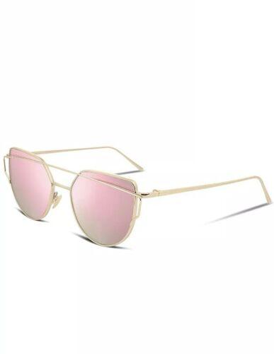 Rosa Oro Espejo Lente Gafas de sol de mujer ojo de gato Classic Twin-vigas Rose UV400