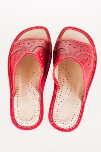 UK 3,4,5,6,7,8 in Cream//Red//Black Women`s//Ladies Slippers Natural Leather size
