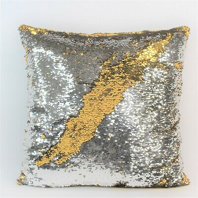 Bed Bath Beyond Reversible Mermaid Sequin Throw 18 Pillow Gold