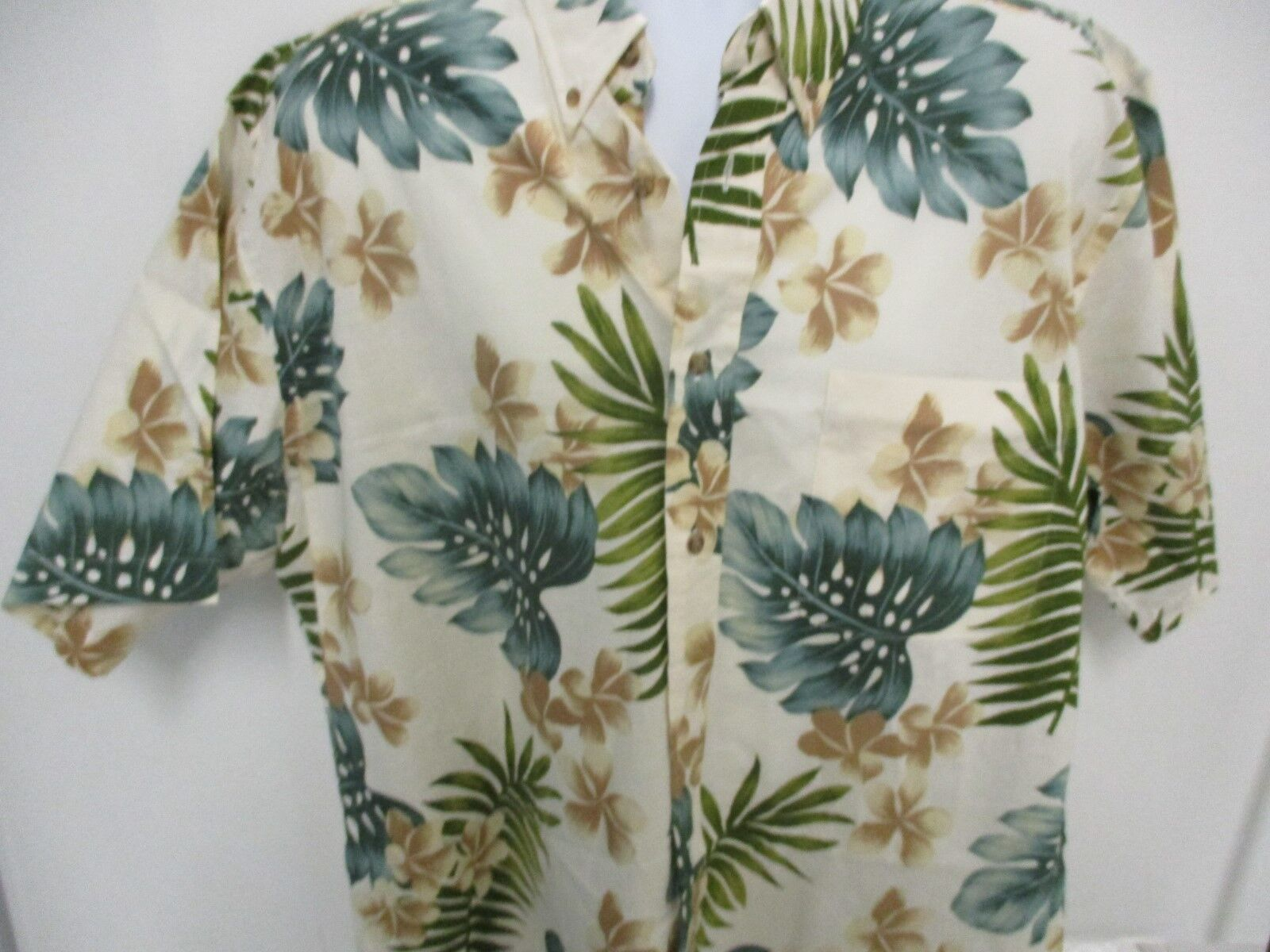 Royal Palm Hawaiian Style Shirt, Off White with Flowers & Fronds, S S, XL