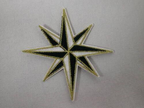 Navy Blue Gold Compass Rose héraldique étoile de Noël Iron On Applique Patch 3.5 i