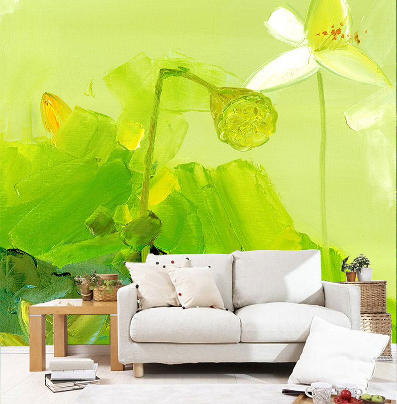 3D Oil Painting Lotus Pond 26 Wall Paper Wall Print Decal Wall AJ Wall Paper