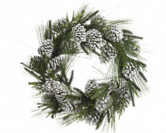 60cm Door Wreath With Snowy Pinecones Decorative Christmas Display Wreath