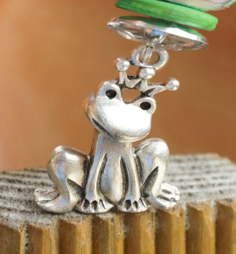 Halskette Frosch König Silber Anhänger mit Lederband Kette Perlen Kettenanhänger