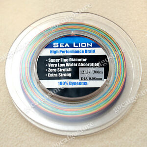 NEW Sea Lion 100% Dyneema Spectra Braid Fishing Line 300M 12LB Multi Color