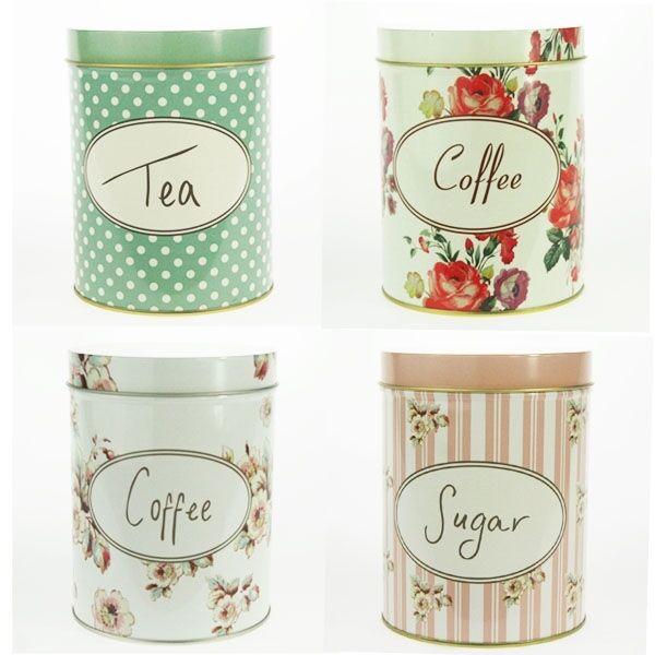 Retro Vintage Kitchen Coffee Tea Sugar Container Jar Metal Steel Polka Flower
