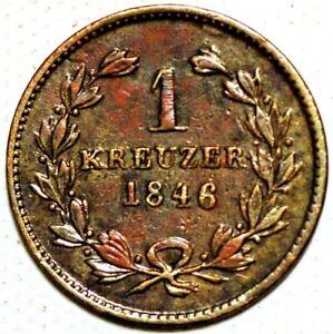 Germany 5 Centesimi Leopold Groscherzog Von Baden 1 Kreuzer (#1)